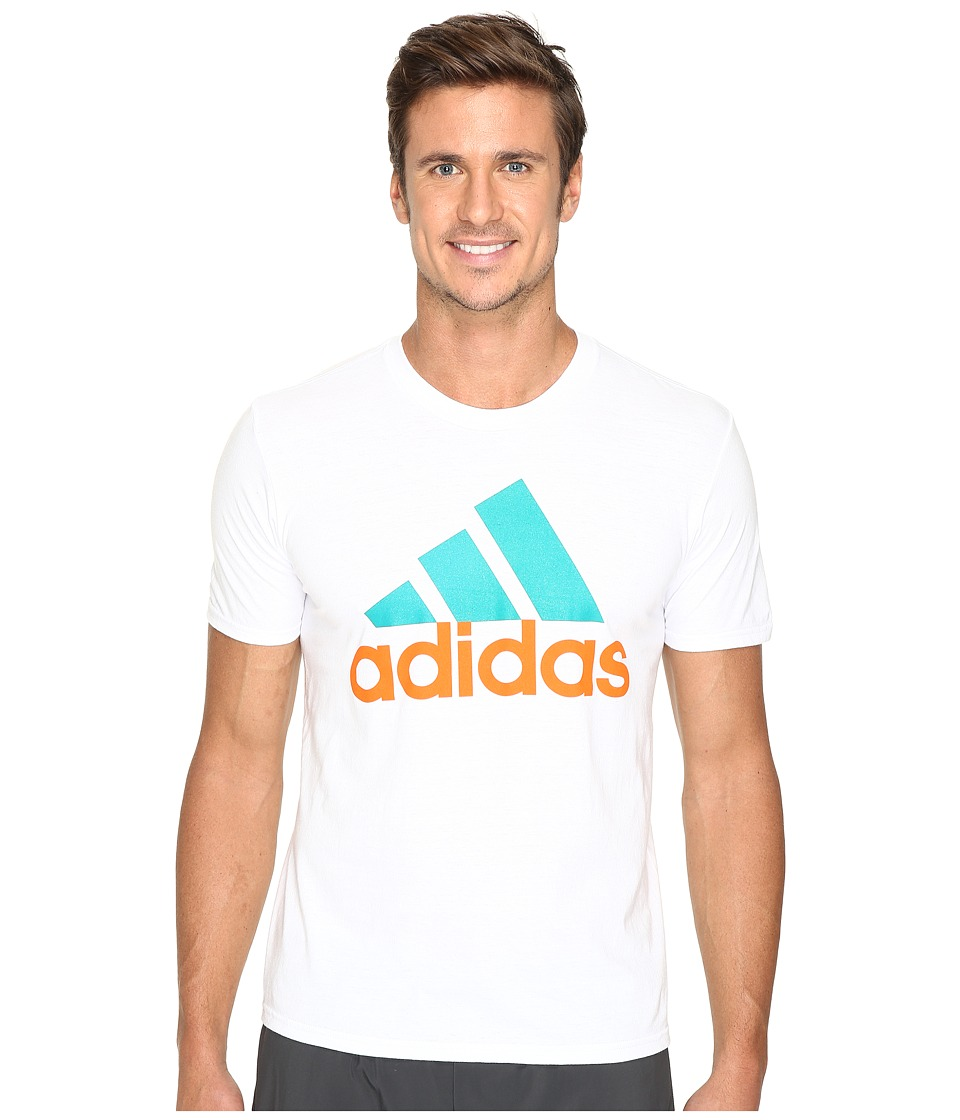 adidas - Badge of Sport Performance Tee (White/Orange/Blue Bird Logo) Men's T Shirt