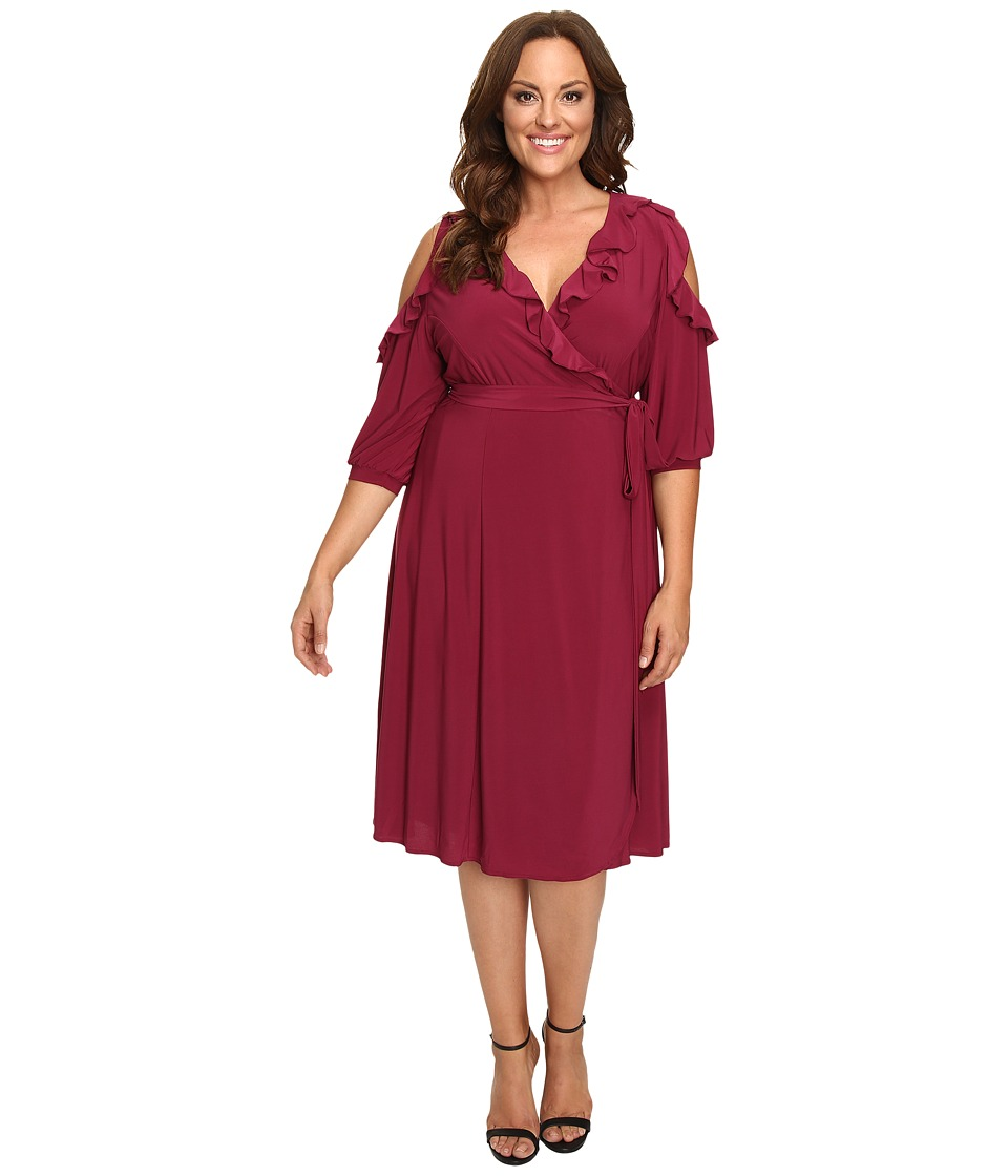 Kiyonna - Barcelona Wrap Dress (Raspberry Cooler) Women's Dress