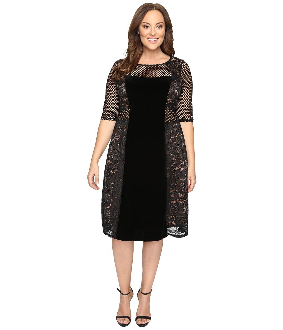 Kiyonna Mixed Lace Cocktail Dress (Dark Caramel) Women