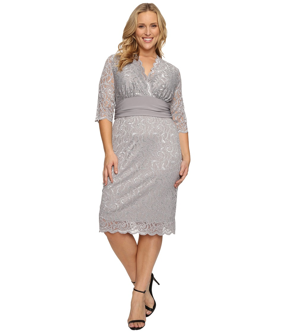 Kiyonna - Lumiere Lace Dress (Silver Lining) Women's Dress