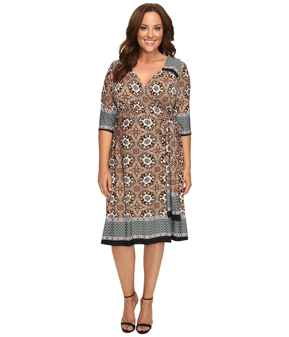 Kiyonna - Beguiling Border Print Dress (Teal Mix Print) Women's Dress