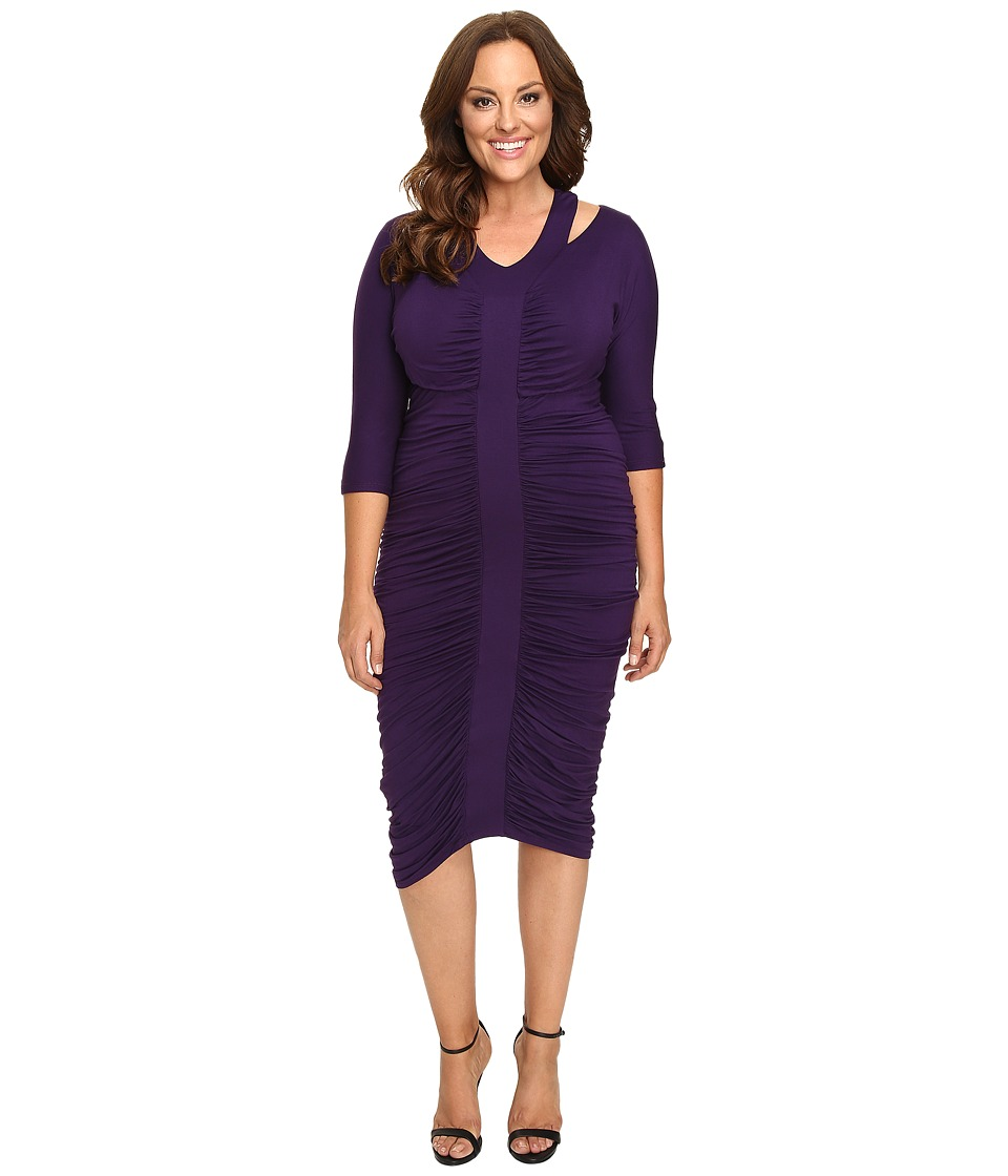 Kiyonna - Riveting Ruched Dress (Amethyst) Women's Dress