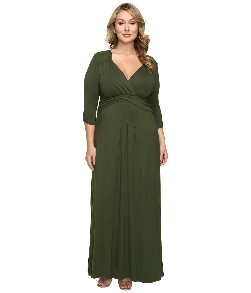 Kiyonna - Desert Rain Maxi Dress (Olive You) Women's Dress