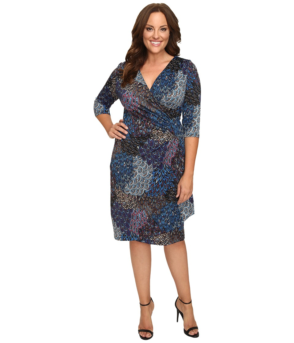 Kiyonna - Ciara Cinch Dress (Peacock Mix Print) Women's Dress