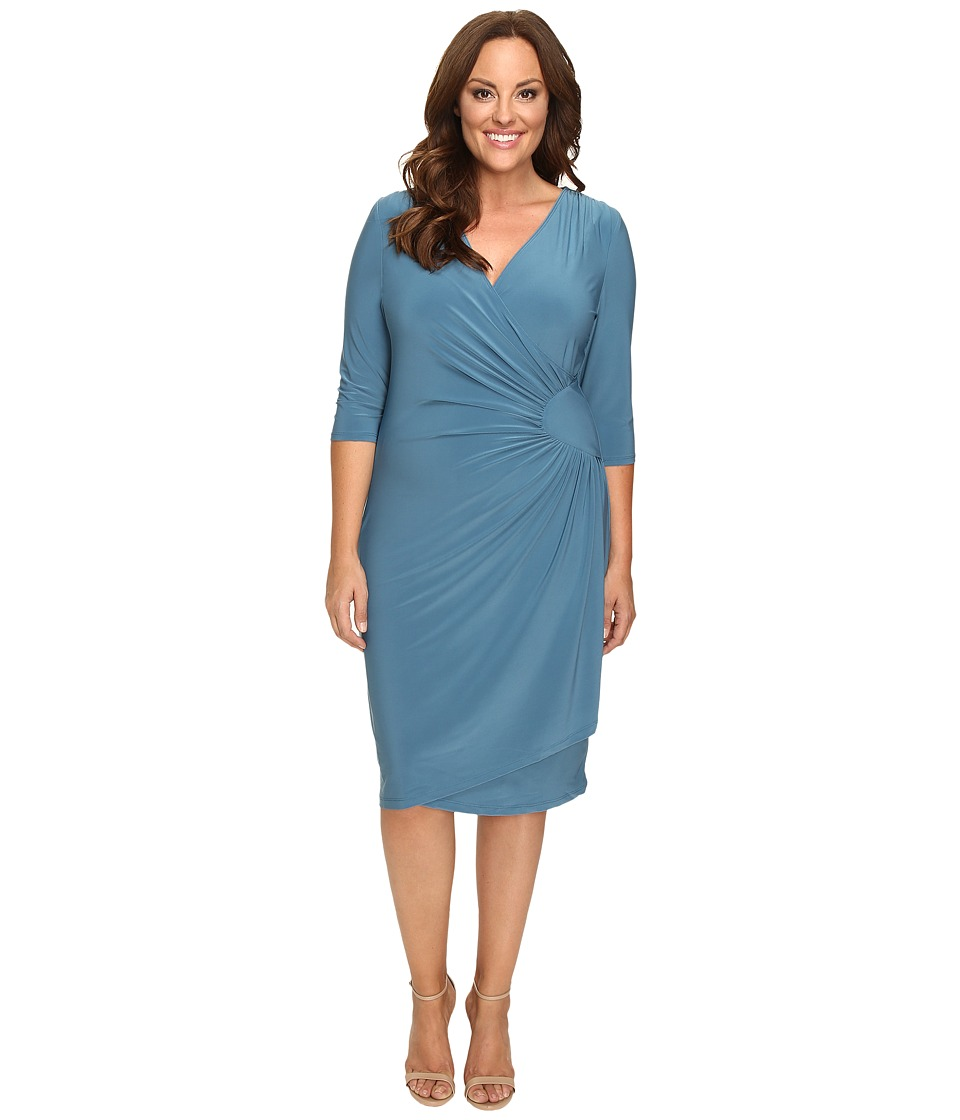 Kiyonna - Ciara Cinch Dress (Misty Blue) Women's Dress