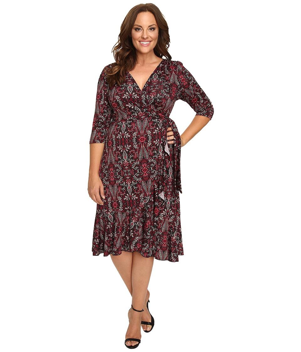 Kiyonna Flirty Flounce Wrap Dress (Bordeaux Vineyard Print) Women