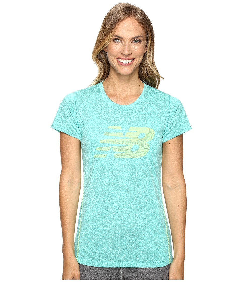 New Balance Heather Short Sleeve Tee Graphic (Reef Heather) Women