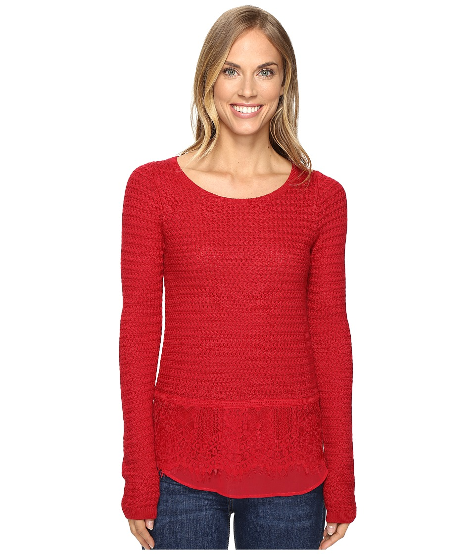 Lucky Brand - Lace Mix Sweater (Rio Red) Women's Sweater