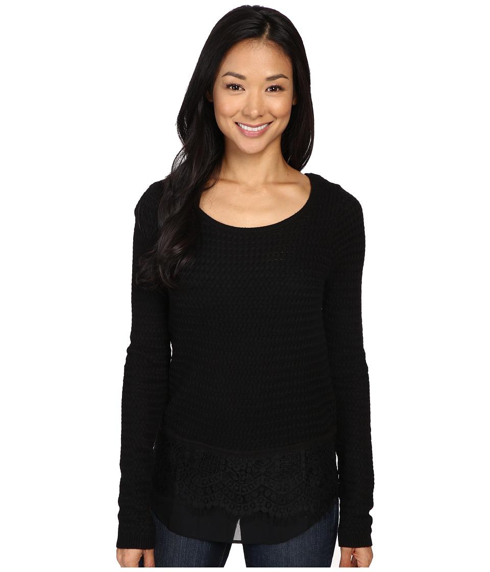 Lucky Brand - Lace Mix Sweater (Jet Black) Women's Sweater