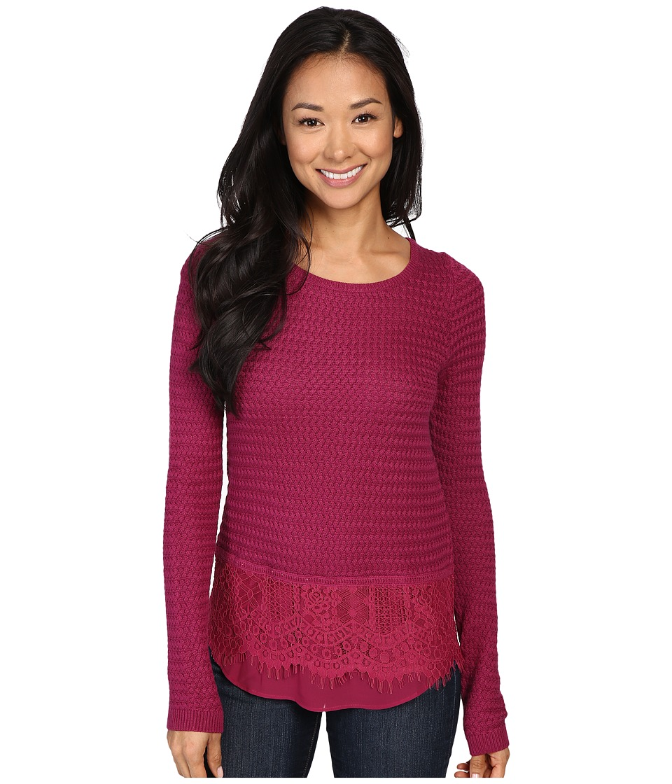 Lucky Brand - Lace Mix Sweater (Raspberry Radiance) Women's Sweater