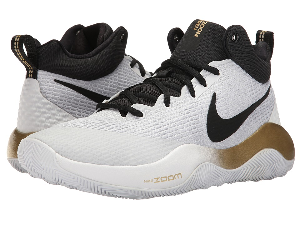Nike - Zoom Rev 2017 (White/Black/Metallic Gold/Pure Platinum) Men's Basketball Shoes