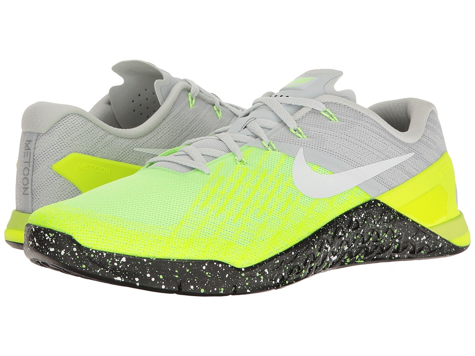 Nike - Metcon 3 (Pure Platinum/Black/Volt/Ghost Green) Men's Cross Training Shoes