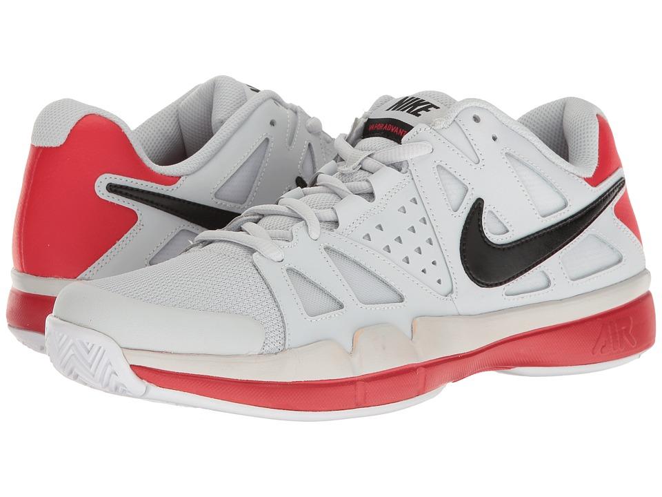 Nike - Air Vapor Advantage (Pure Platinum/Black/University Red/Black) Men's Tennis Shoes