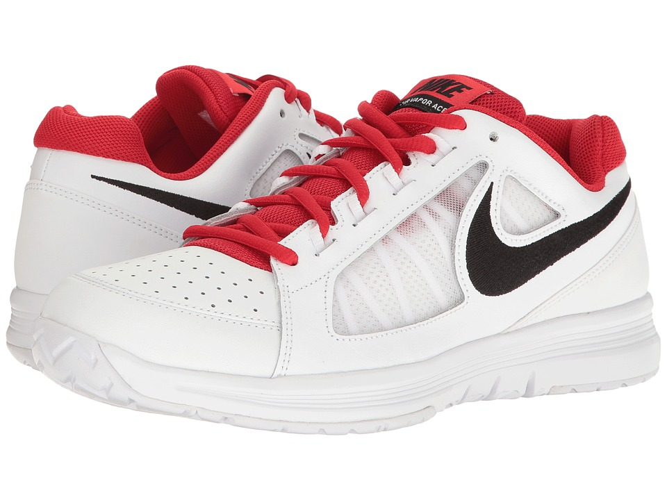 Nike - Air Vapor Ace (White/Black/University Red/White) Men's Tennis Shoes