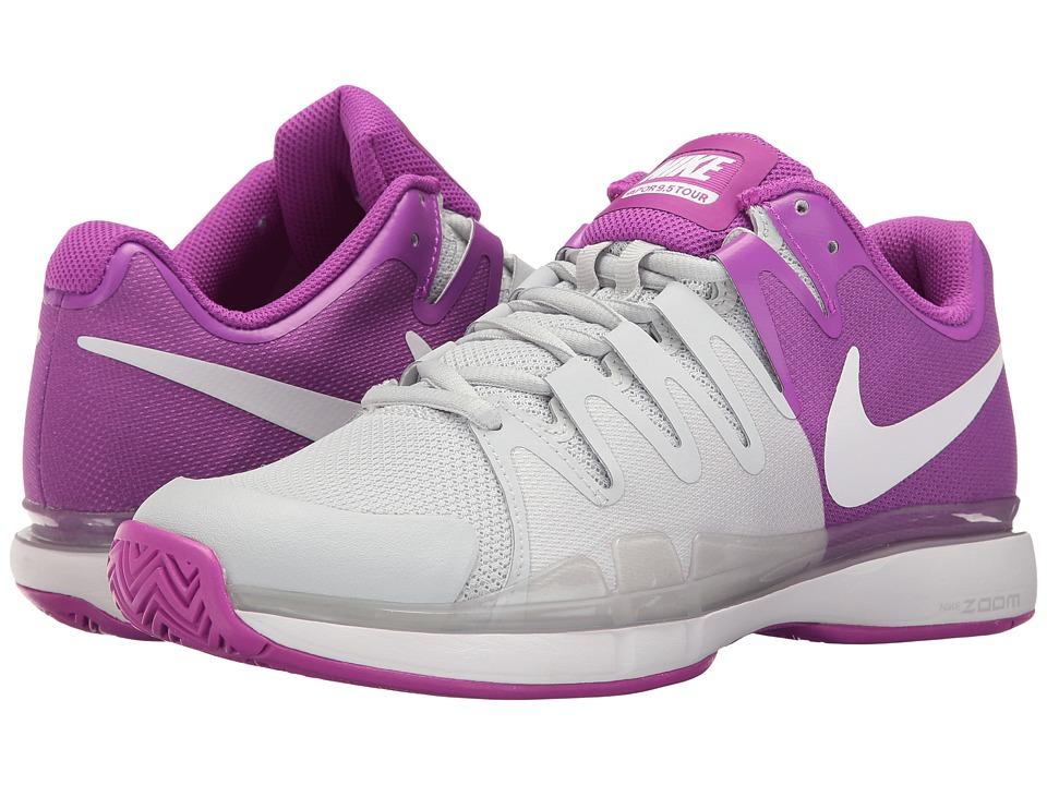 Nike - Zoom Vapor 9.5 Tour (Pure Platinum/White/Vivid Purple/White) Women's Tennis Shoes