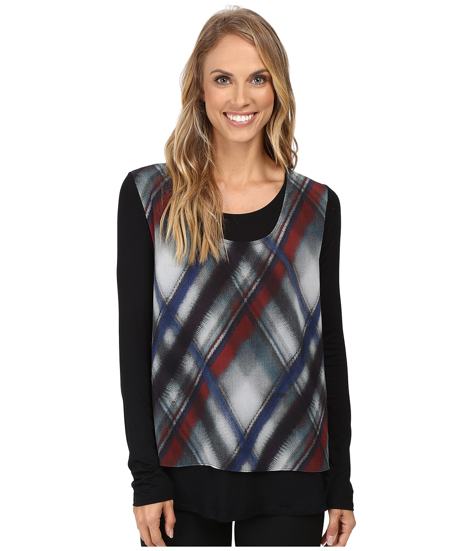 Karen Kane - Sheer Overlay Top (Plaid) Women's Clothing