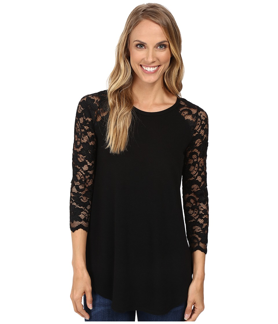 Karen Kane - Lace Yoke Shirttail (Black) Women's Clothing