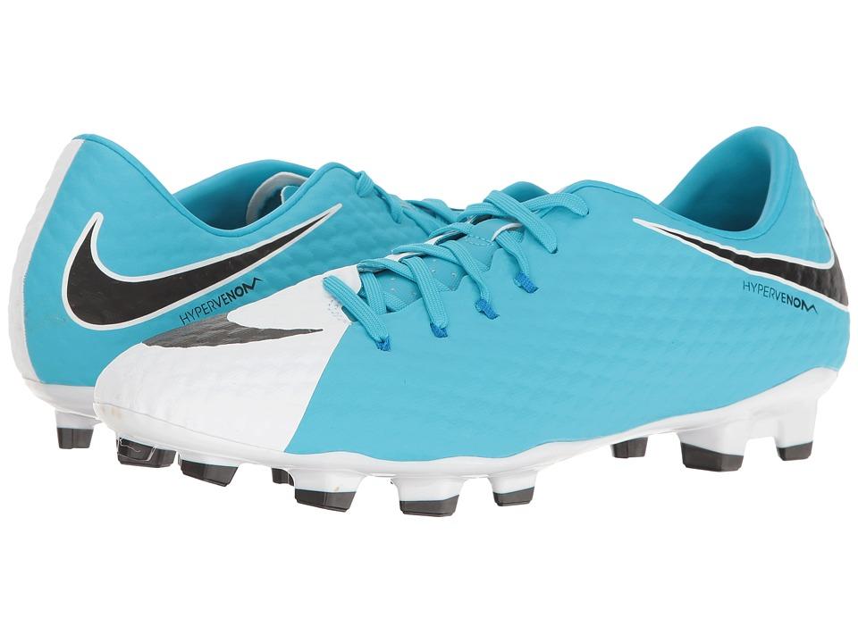 Nike - Hypervenom Phelon III FG (White/Black/Photo Blue/Chlorine Blue) Men's Soccer Shoes