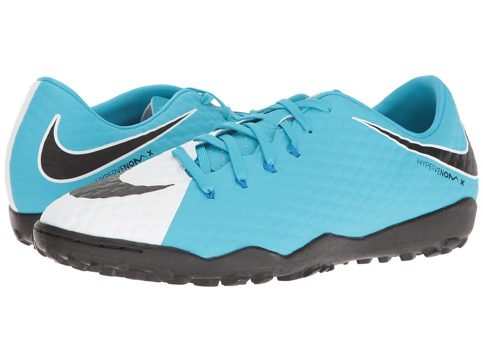 Nike - Hypervenom Phelon III TF (White/Black/Photo Blue/Chlorine Blue) Men's Soccer Shoes
