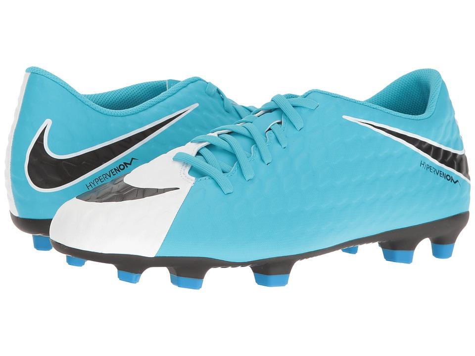 Nike - Hypervenom Phade II FG (White/Black/Phote Blue/Chlorine Blue) Men's Soccer Shoes