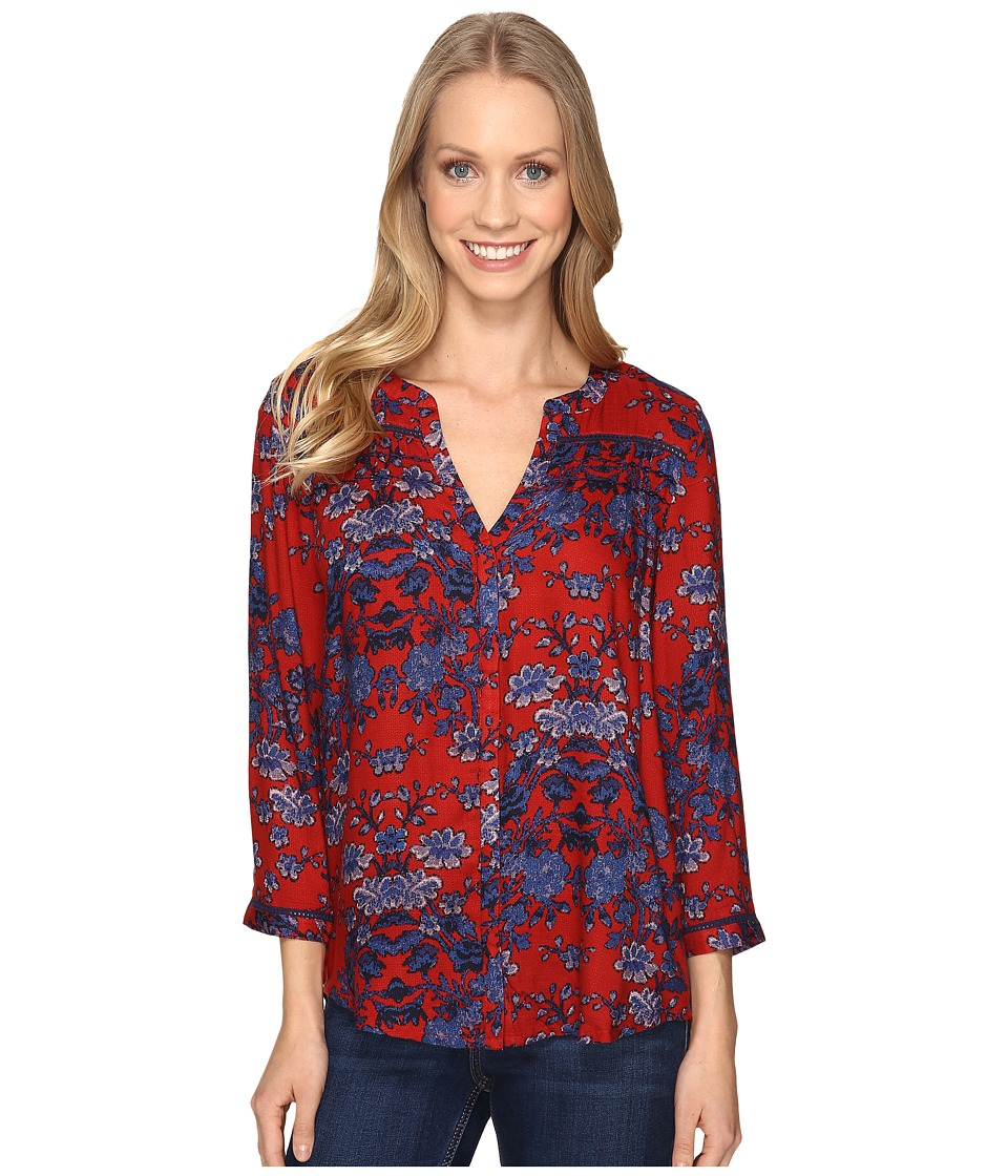 Lucky Brand - Vintage Print Top (Red Multi) Women's Clothing