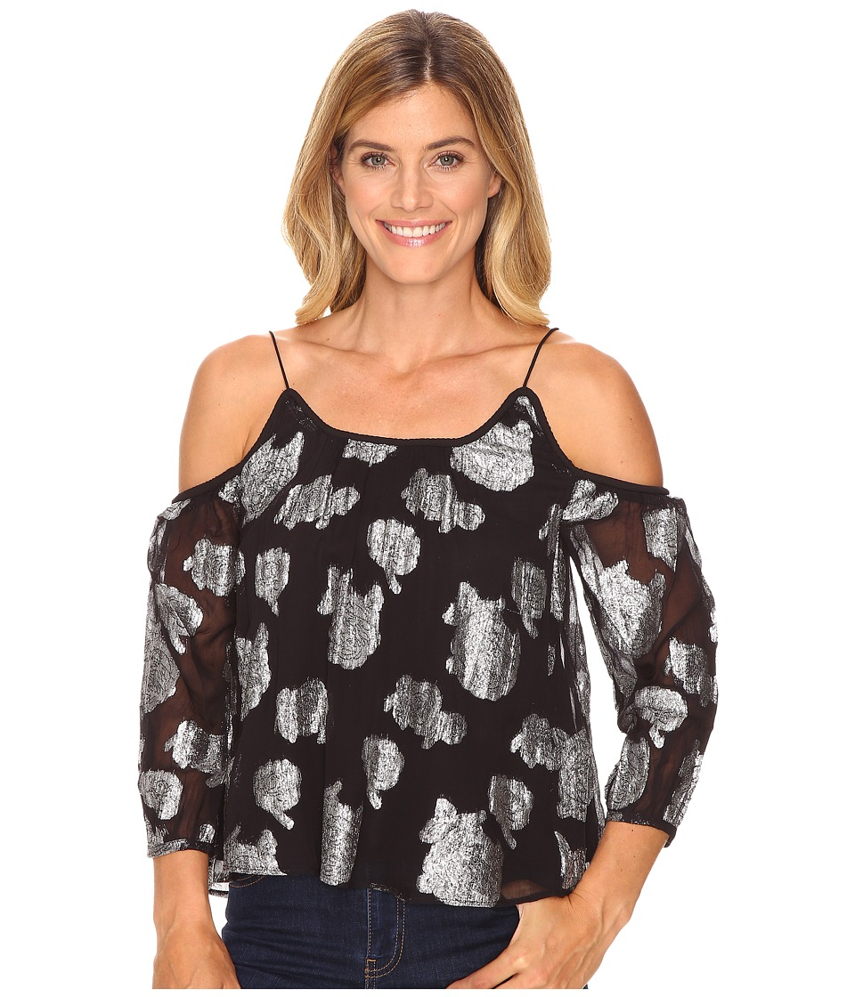 Lucky Brand - Silver Flower Cold Shoulder Top (Black Multi) Women's Clothing