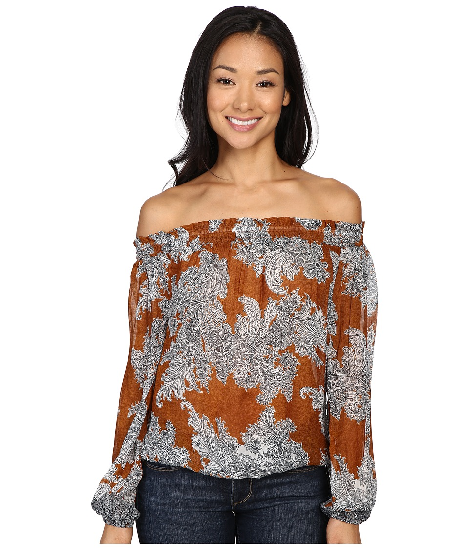 Lucky Brand - Printed Multi Function Top (Orange Multi) Women's Clothing