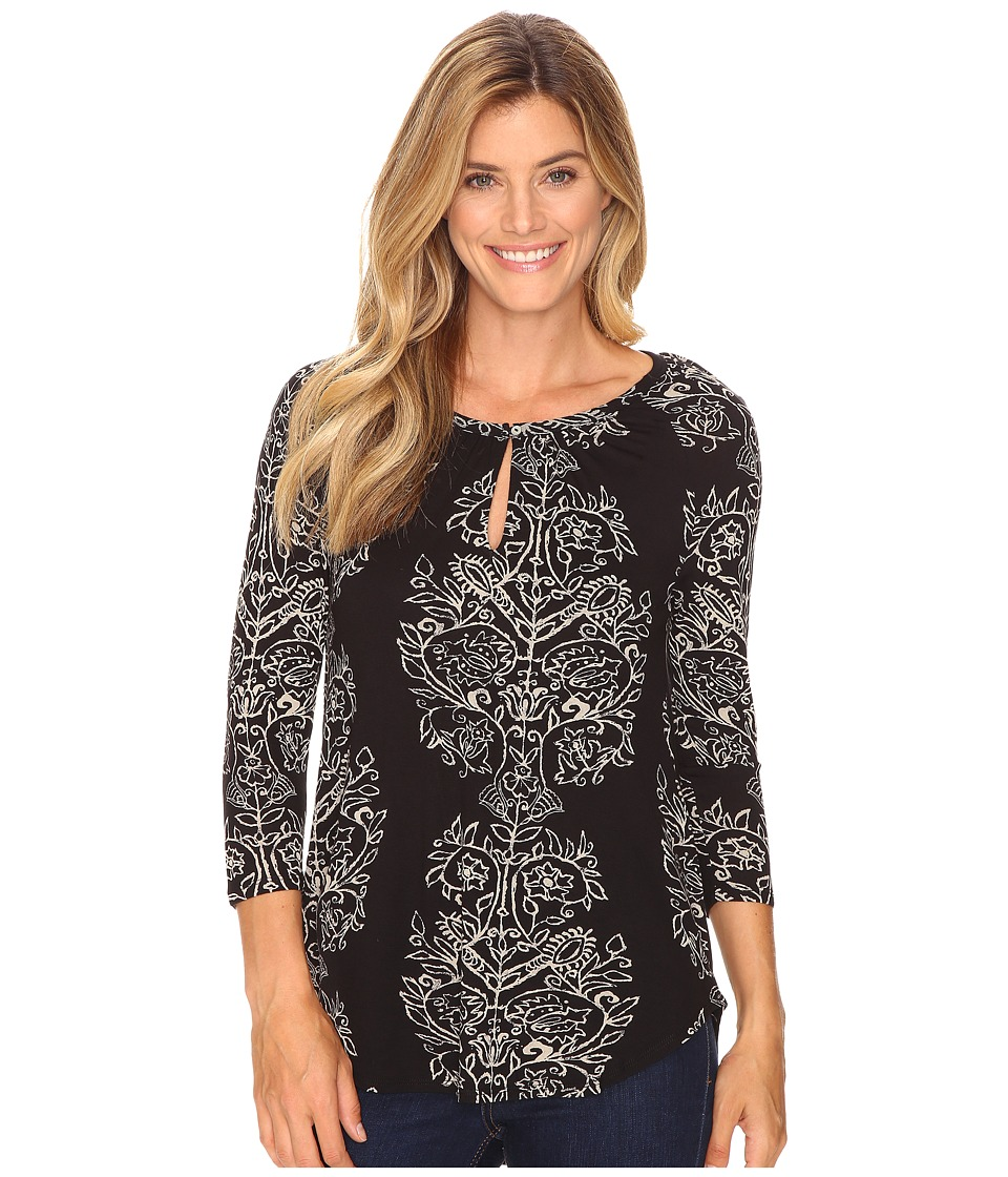 Lucky Brand - Printed Raglan Top (Black Multi) Women's Clothing