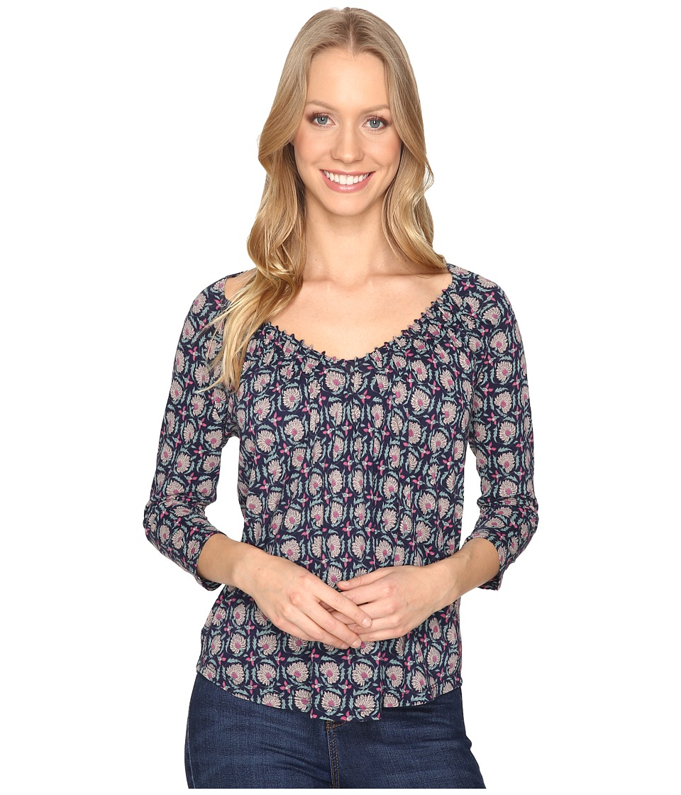 Lucky Brand - Printed Pintuck Top (Navy Multi) Women's Clothing