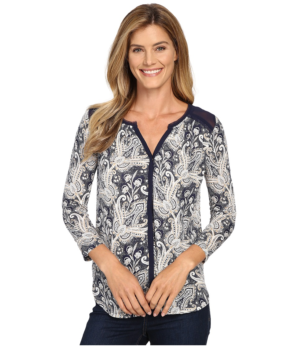 Lucky Brand - Printed Woven Mix Top (Blue Multi) Women's Clothing