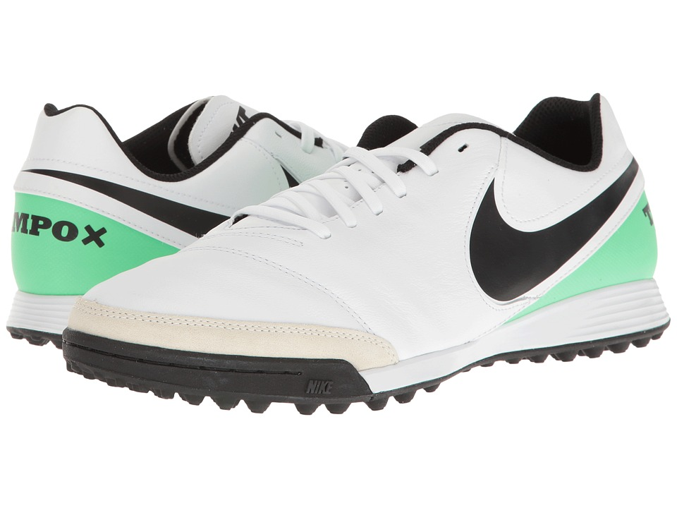 Nike - Tiempo Genio II Leather TF (White/Black/Electro Green) Men's Soccer Shoes
