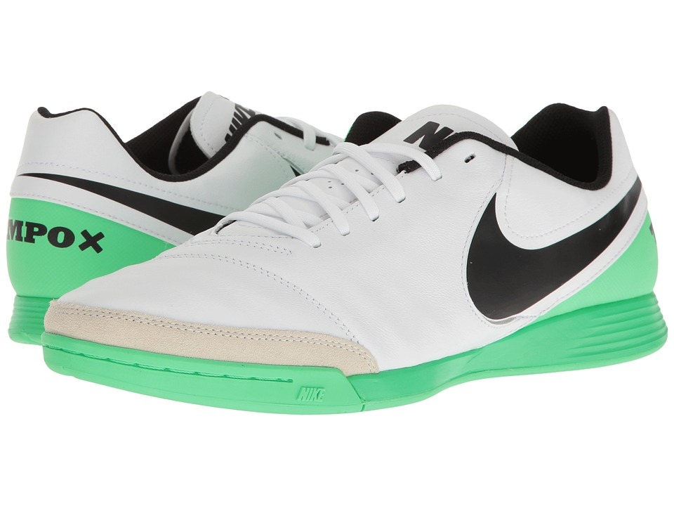 Nike - Tiempo Genio II Leather IC (White/Black/Electro Green) Men's Soccer Shoes