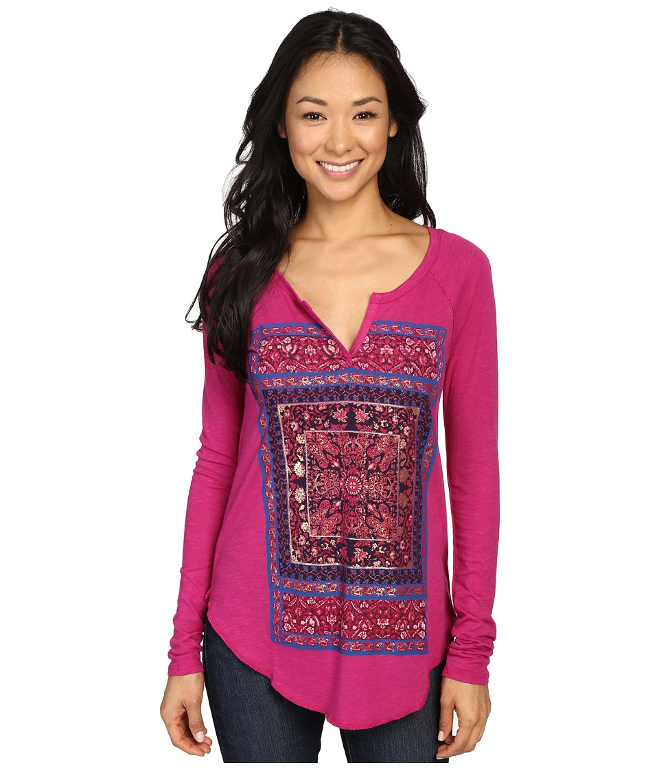 Lucky Brand - Deco Matchbox Tee (Festival Fuchsia) Women's T Shirt
