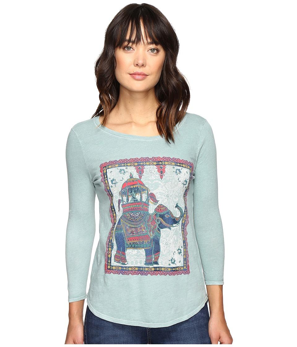 Lucky Brand Elephant Ride Tee (Silver/Blue) Women