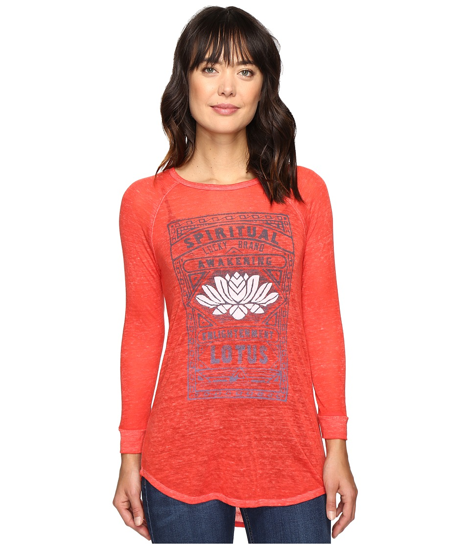 Lucky Brand Lotus Matchbox Tee (Tomato) Women