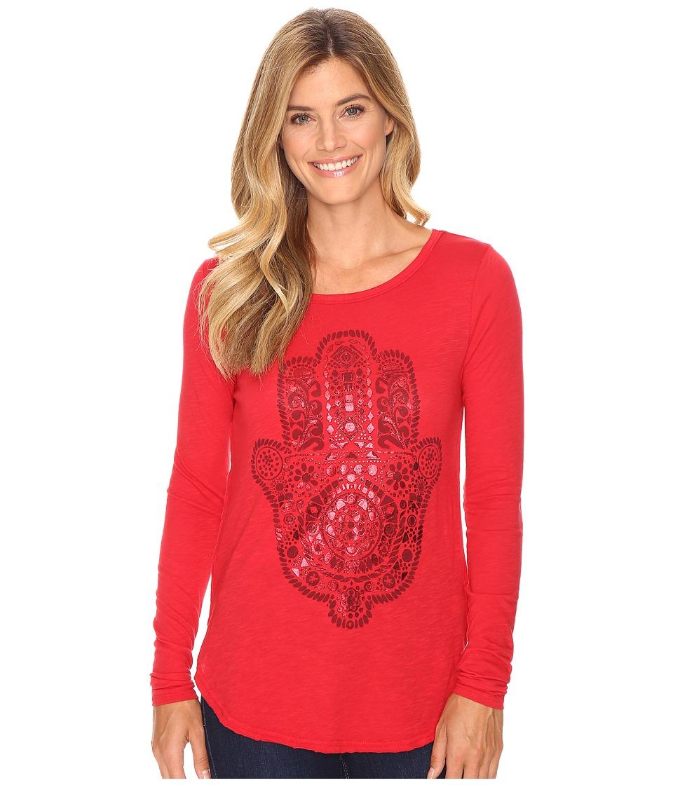 Lucky Brand - Hamsa Hand Tee (Tango Red) Women's T Shirt