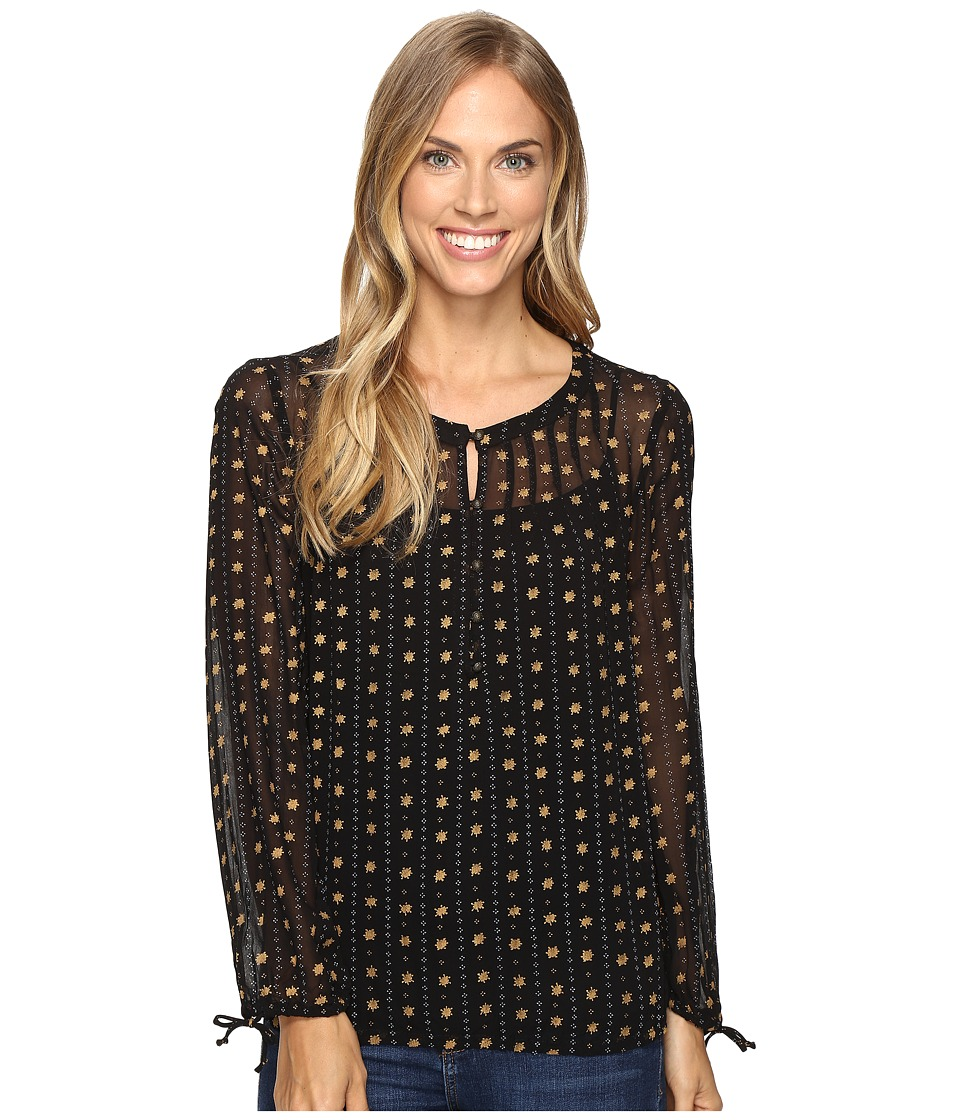 Lucky Brand - Metallic Dotted Top (Lucky Black) Women's Clothing