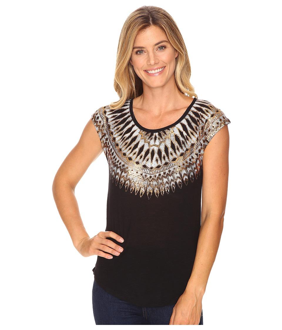 Lucky Brand - Wing Neckline Tee (Jet Black) Women's T Shirt