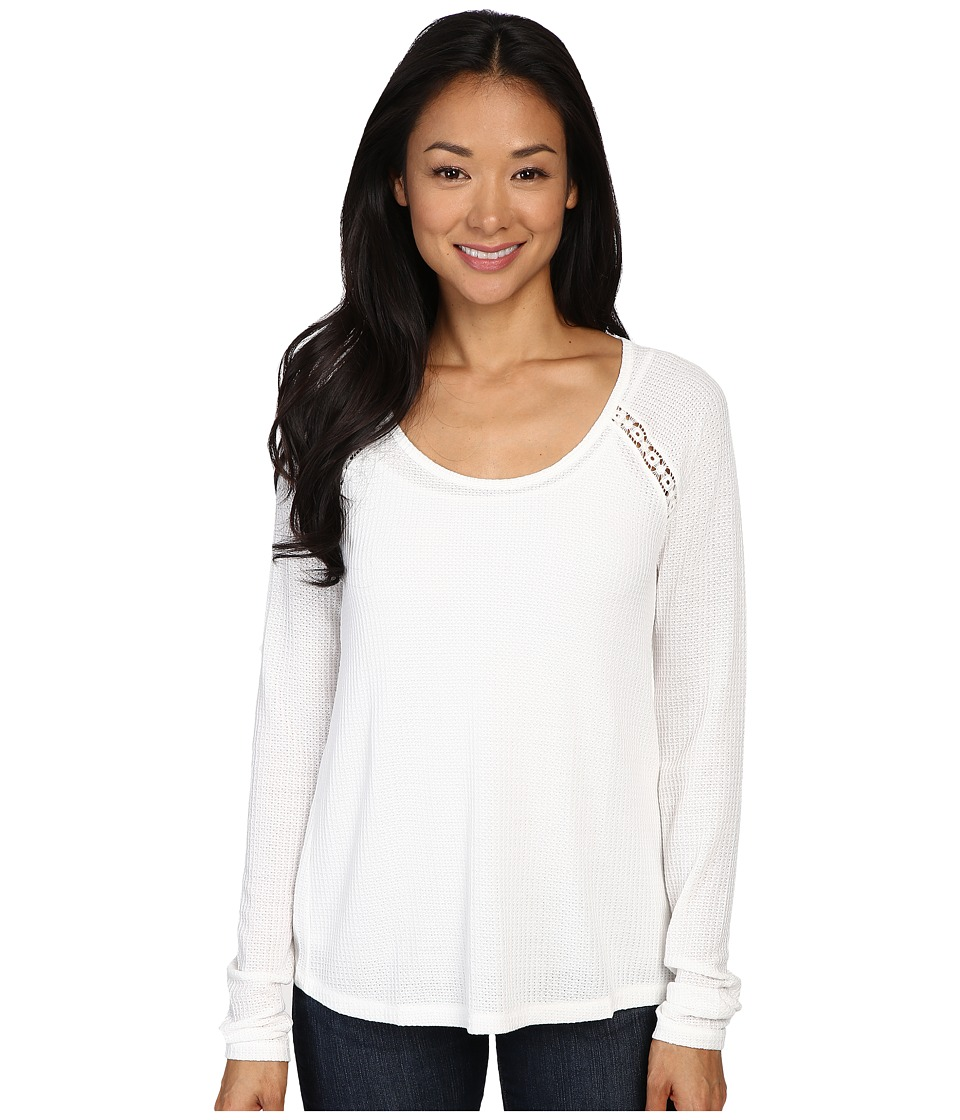 Lucky Brand - Lace Mixed Thermal Top (Marshmellow) Women's Clothing