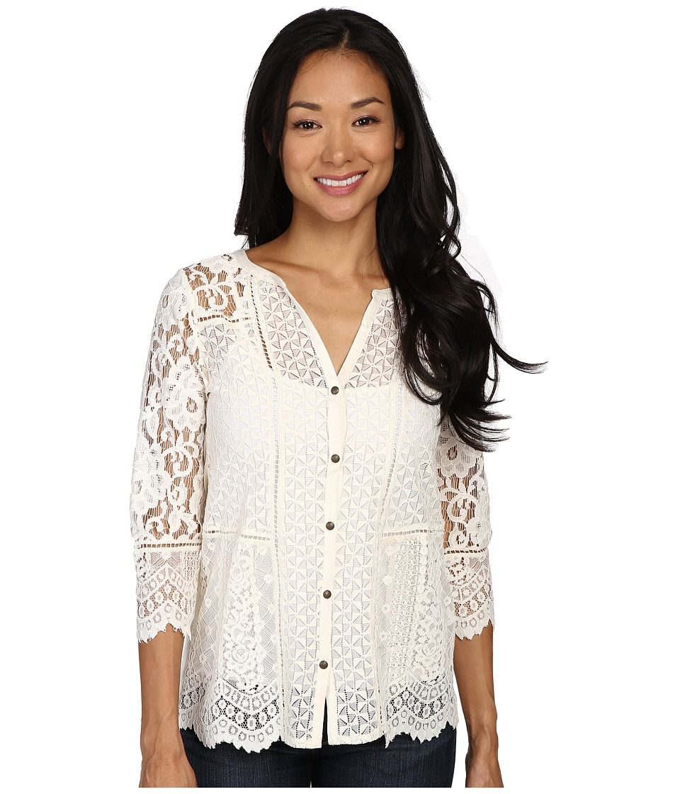 Lucky Brand - Lace Mix Top (Birch) Women's Clothing