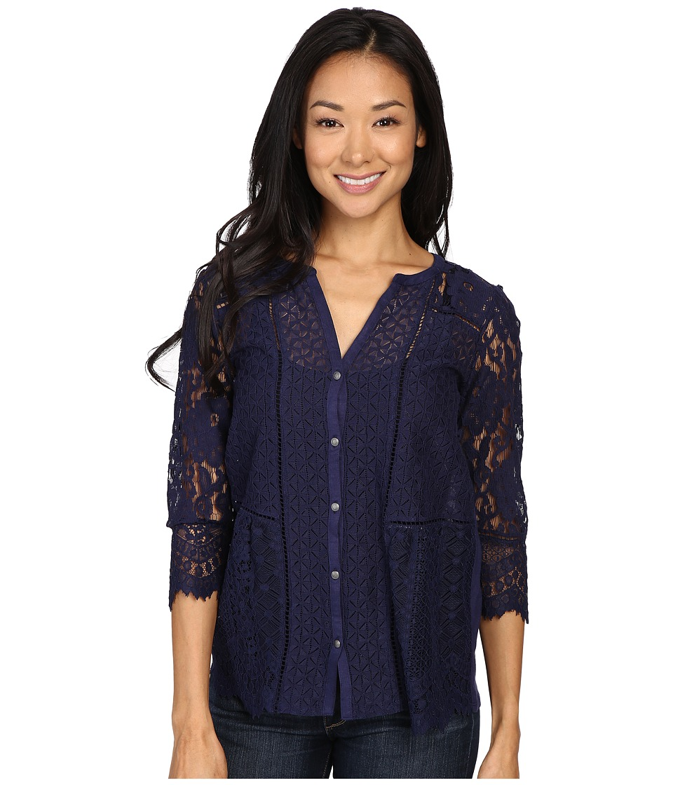 Lucky Brand - Lace Mix Top (Eclipse) Women's Clothing