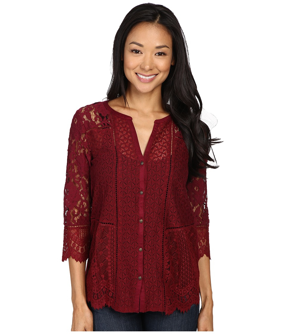 Lucky Brand - Lace Mix Top (Wild Currant) Women's Clothing
