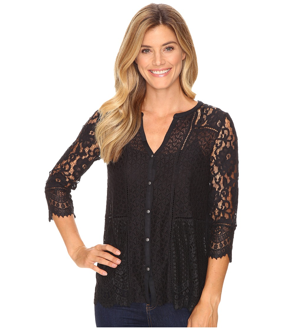 Lucky Brand - Lace Mix Top (Jet Black) Women's Clothing