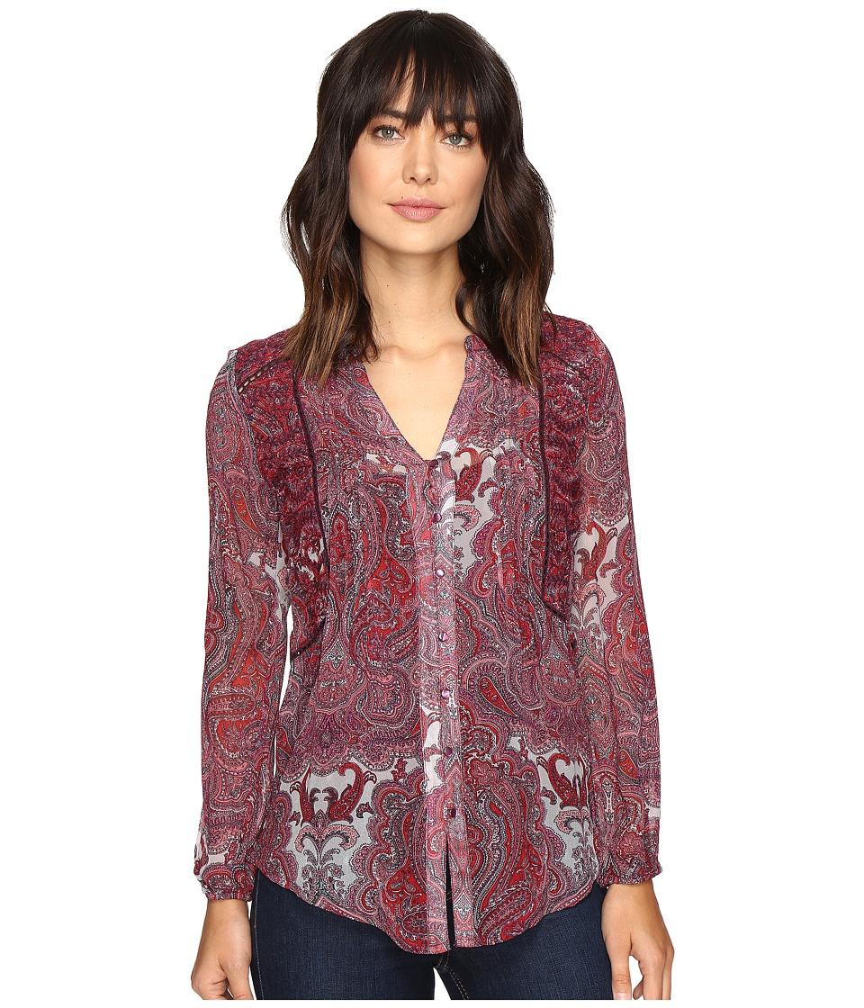 Lucky Brand - Contrast Embroidery Blouse (Red Multi) Women's Blouse