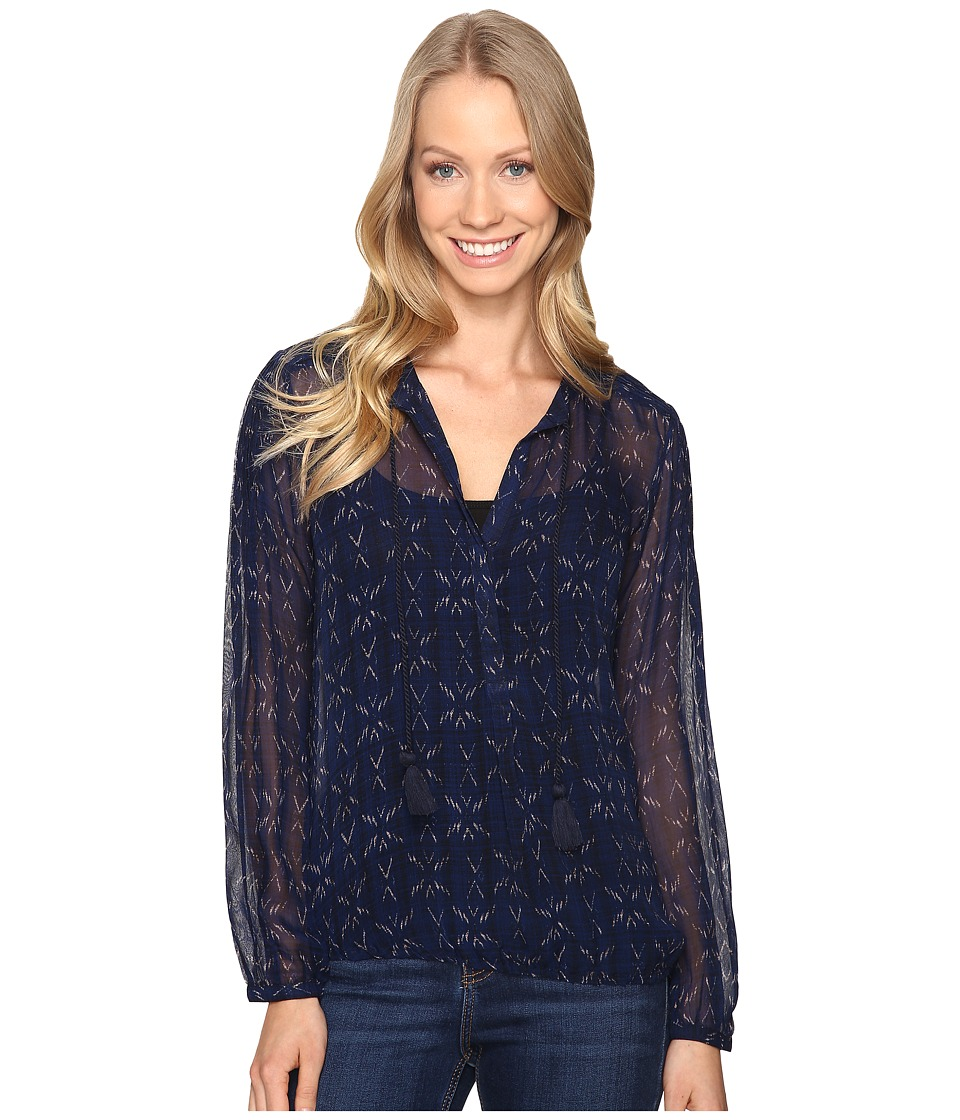 Lucky Brand - Pintuck Blouse (Blue Multi) Women's Blouse