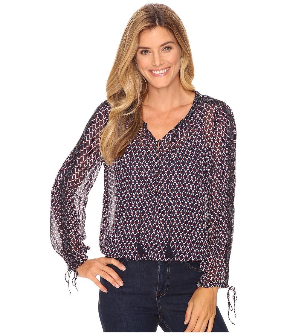 Lucky Brand - Beaded Trim Blouse (Navy Multi) Women's Blouse