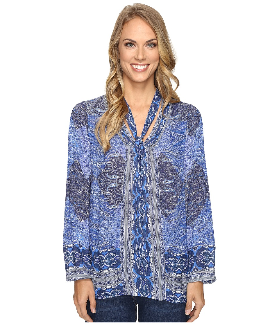 Lucky Brand - Tie Neck Blouse (Blue Multi) Women's Blouse