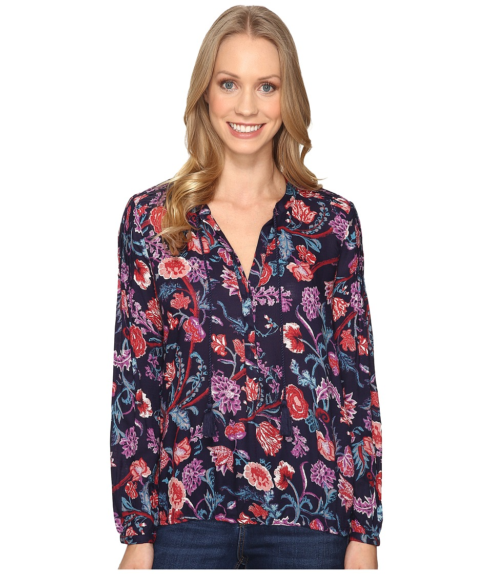 Lucky Brand - Tassle Floral Blouse (Navy Multi) Women's Blouse