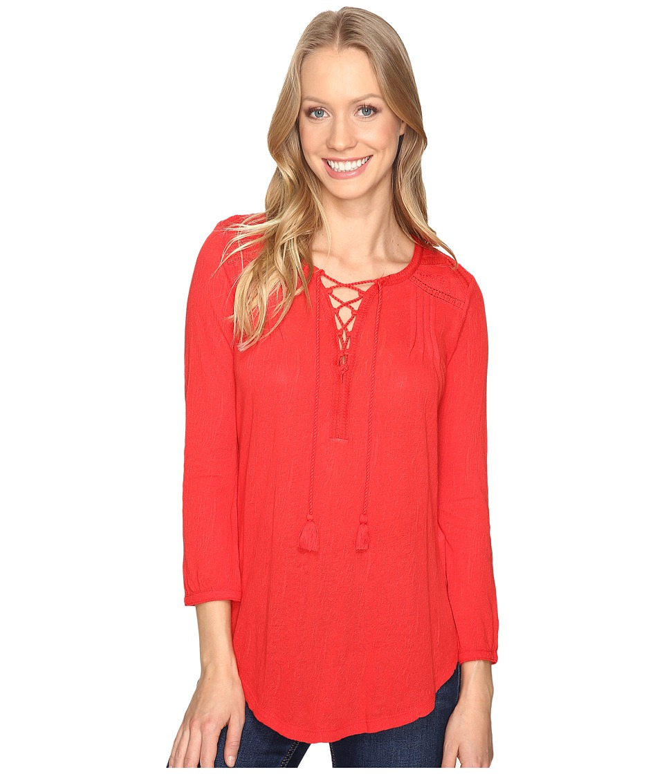 Lucky Brand - Lace Front Peasant (Goji Berry) Women's Clothing