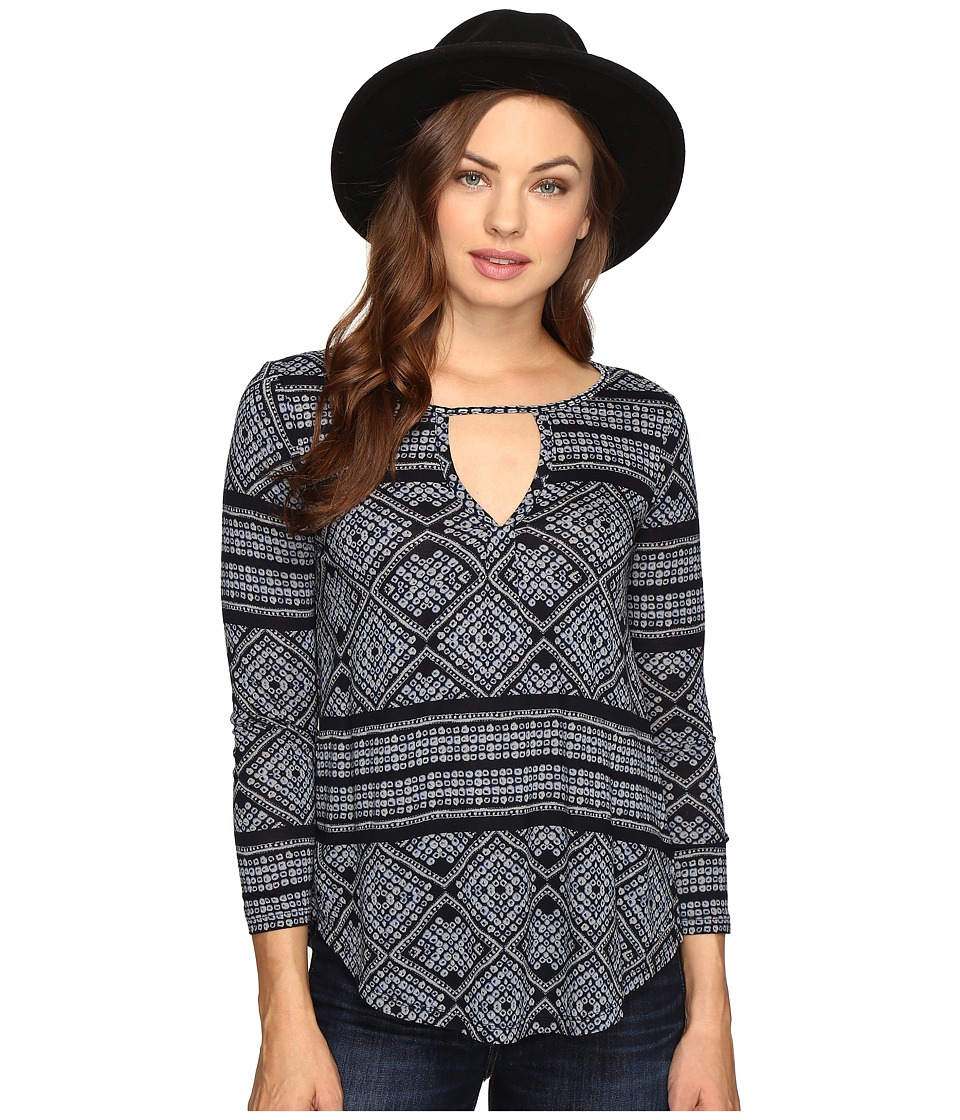 Lucky Brand - Geo Printed Top (Blue Multi) Women's Clothing